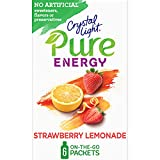 Crystal Light Pure Strawberry Lemonade Energy Drink Mix with Caffeine and B Vitamins (48 On-the-Go Packets, 8 Packs of 6)