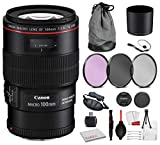 Canon EF 100mm f/2.8L Macro is USM Lens (3554B002) Bundle with Professional Bundle Package Kit for Canon EOS Includes: 3PC Filter Kit, Pro Camera Hand Strap + More