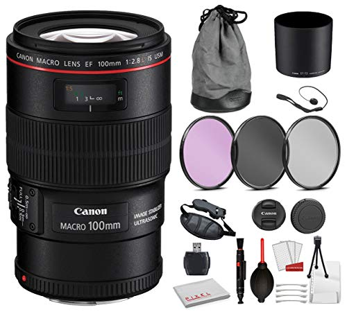 Canon EF 100mm f/2.8L Macro is USM Lens (3554B002) Bundle with Professional Bundle Package Deal Kit for Canon EOS Includes:...