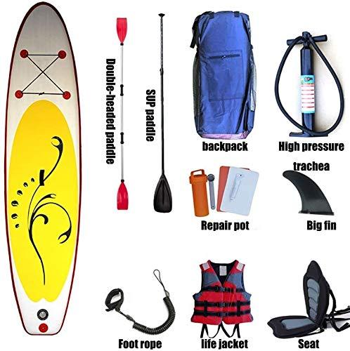 FANLIU Hasta el Soporte Inflable Inflable Paddle Board con los Asientos, Paddle Ajustable/Llevar Mochila/Bomba/Tobillo de Seguridad Kit de Correa/Reparación/Mochila, Apto for Principiantes y