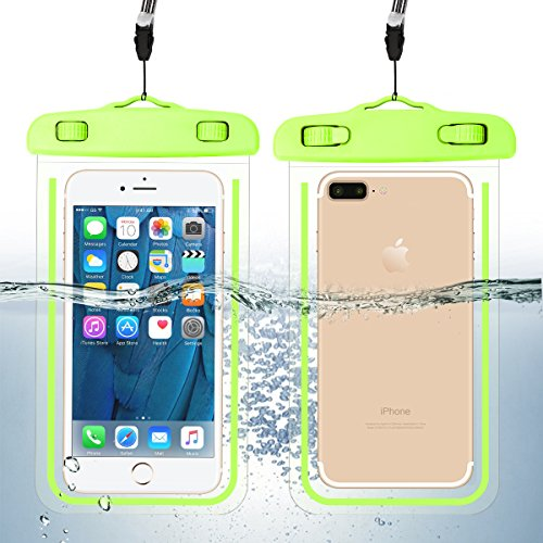 """Pack Waterproof Phone Case Universal Cellphone Dry Bag Pouch for iPhone 11/11 Pro/XS/XR/SE 2020, Galaxy S20+ up to 6.9"""", Durable Luminous Underwater Case Cover with Neck Strap for Pool Beach"""