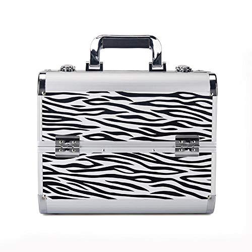 LOMOOC Alu Kosmetikkoffer Schminkkoffer Beauty Case Friseurkoffer,mit Schloss, 4 Tabletts -Weißes Zebra