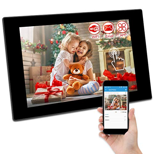 GRC 10.1 Inch WiFi Digital Photo Frame with IPS Full HD Touch Screen, Add Photos and Videos from Email App (iOS Android) Facebook Twitter, 16GB Internal Storage, Support SD Card and USB Flash Drive