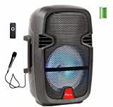Ridgeway Professional 8' Portable Party Outdoor Bluetooth PA Speaker Rechargeable Trolley USB TF FM AUX LED Lights MIC and Remote Contorl
