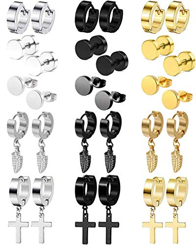 CARSHIER 15Pairs Stainless Steel Dangle Stud Earrings for Men Feather Huggie Hoop Hinged Loop Punk Earring Set Father's Day Gift