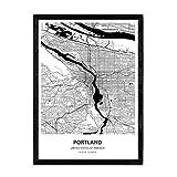 Nacnic mit Karte Poster Portland - USA. Blätter von