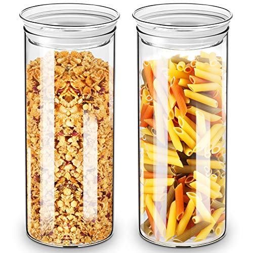ZENS voorraadpotten voorraaddoos glas, borosilicaatglas kruk voorraaddozen van 2 met luchtdicht deksel, 1650 ml grote glazen pot voorraadglas voor keuken pasta, Muesli