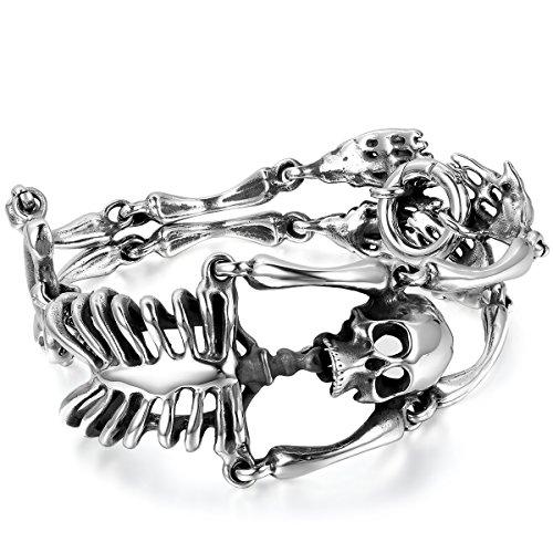 JewelryWe Bijoux Bracelet Homme Cool Crâne Tête de...