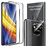 LK Compatible con Xiaomi Poco X3 Pro/Xiaomi Poco X3 NFC Protector de Pantalla,2 Pack Cristal Templado y 2 Pack Protector de Lente de cámara, Doble protección