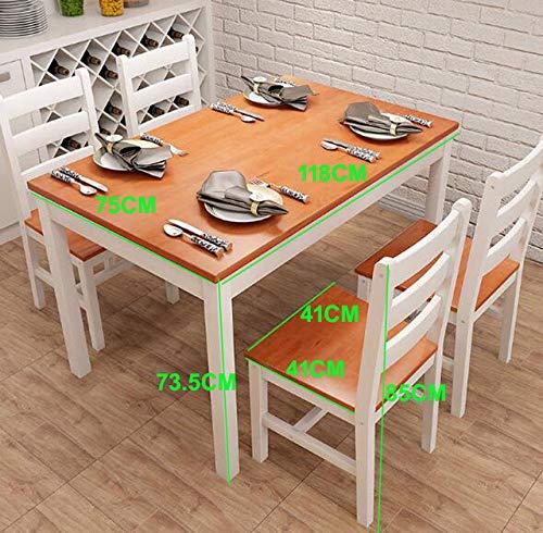 LGFSG Conjunto de Mesa Mesa de Comedor de Madera Maciza combinacion de Mesa de Comedor Conjunto de sillas Mesa de Comedor de 1 Pieza Juego de sillas de 4 Piezas, como en la Imagen
