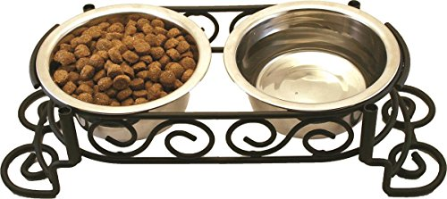 Spot Mediterranean Double Diner Elevated Pet Bowls | Elevated Dog Feeder | Dog Feeder for Small Dog | Elevated Dog Feeder for Medium Dogs | Elevated Dog Feeder for Large Dog |Stainless Steel | 1 Pint