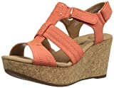 Clarks Women's Annadel Orchid Wedge Sandal, Coral, 10 M US