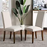 Merax Dining Chairs Set of 2 Fabric Padded Upholstered Side Chair with Solid Wood Legs & Nailed Trim (Beige)