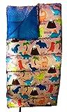 CRCKT Kids Sleeping Bag Outdoors Warm Weather Bag Sleepovers Dinosaur Design Gray 5ft 4in x 2ft 6in