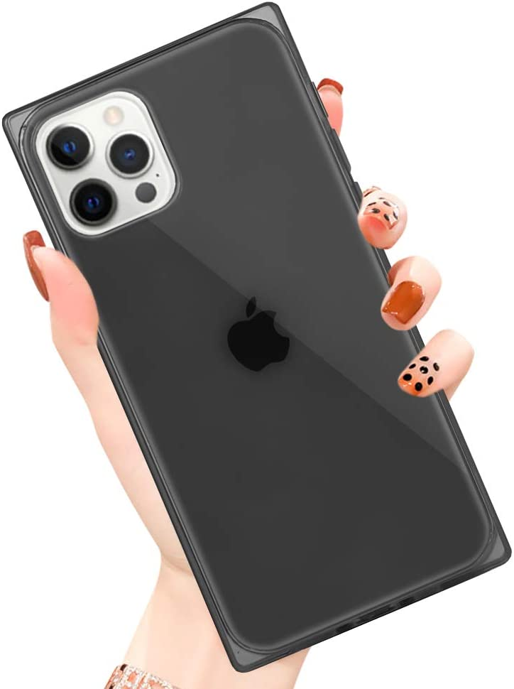 PERRKLD Compatible with iPhone 12 Pro Case/iPhone 12 Case Square Soft TPU Bumper Slim Clear Transparent Reinforced Corners Shockproof Phone Case for iPhone 12 Pro/iPhone 12 6.1 Inch 2020-Clear Black