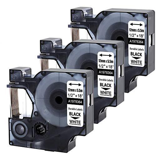 Nastro per Etichette MarkField Compatibile Sostituzione per Dymo D1 1978364 Nastro 12mm per Dymo Label Manager 160 210D 280 420P 360D 500TS PnP, LabelWriter 450 Duo, Nero su Bianco