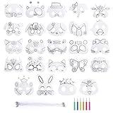 Mascarilla de Animal 24 Piezas Máscaras para Colorear en Blanco DIY Máscara Manualidades Infantiles de Pintura para Halloween Navidad Cosplay Cumpleaños Fiestas