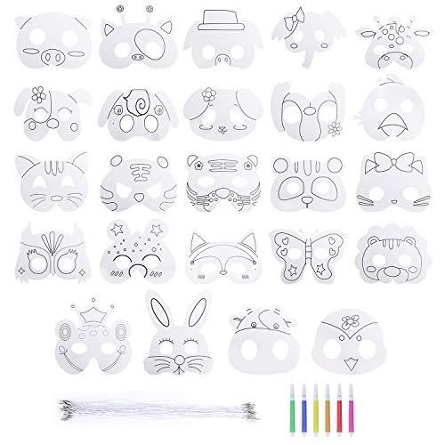 Masken für Kinder Tiermasken Blanko Bemalen Masken für Halloween Weihnachten Geburtstag Bühnenaufführungen Thema Party Carnival 24 Stücke