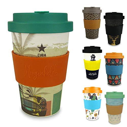 Morgenheld Dein trendiger Bambusbecher | Coffee-to-Go-Becher | Kaffeebecher mit Schraubdeckel und Banderole in coolem Design 400 ml (Cuba)