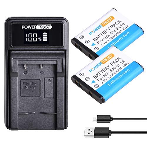 PowerTrust 2Pcs EN-EL19 EN EL19 Battery + LED USB Charger for Nikon Coolpix S32 S33 S100 S2500 S2750 S3100 S3200 S4200 S4400 S6400 S6500 S6600