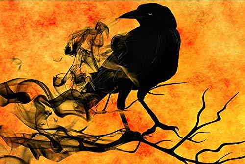 Pintura diamante bricolaje 5D diamante completo diamante redondo animal cuervo negro 45x40cm bordado artesanía cosida a mano cristal rhinestone decoración de la pared pintura