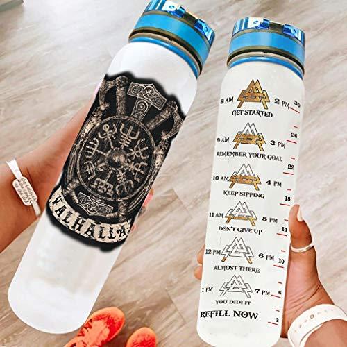 DAMKELLY Store Viking Vegvisir Shield Botella deportiva reutilizable de alta calidad – Botella de agua con correa Crayy para fitness White 1000 ml