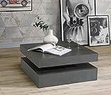 FORTE CFTT4181-U41, FORTE Wohnzimmer Couchtisch Wohnzimmertisch, Holzwerkstoff, 78 (93) x 34,3 x 78 cm, mit Ablagefläche und rotierender Tischplatte, Betonoptik dunkel One Size Betonoptik Dunkel