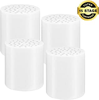 H*Sheng TPK 15-Stage Replacement Shower Water Filter Cartridges with Vitamin C for Hard Water - Compatible with Universal Shower Heads and Handheld Shower Reduces Dry Itchy Skin, Dandruff, Eczema