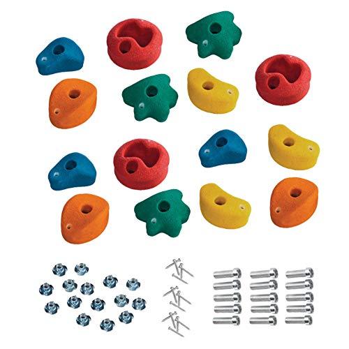 15 Stück h2i Klettersteine Klettergriffe für Kletterwand - klein - 8,6 x 8,6 cm für Kinder und Erwachsene