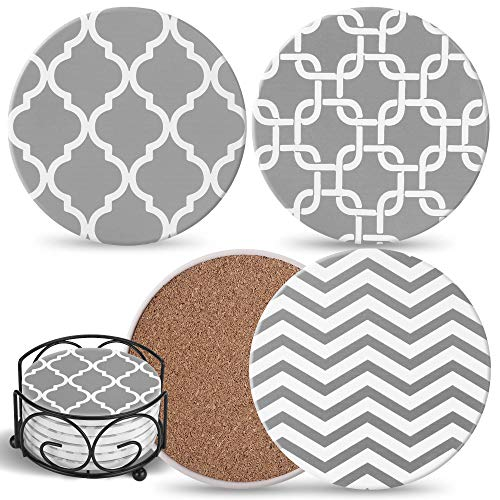 Coasters For Drinks Absorbent with Holder - 6 Gray Ceramic Stones with Mix Patterns & Cork Back, Use as House Decor, Living Room or Coffee Bar Decor, Outdoor Coasters - Ultimate Housewarming Gift