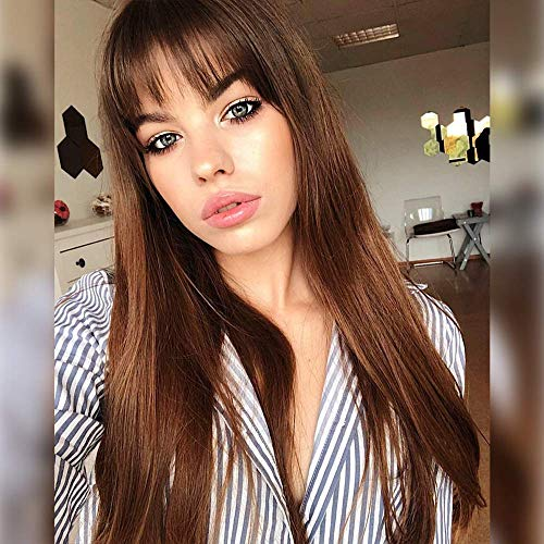 AISI QUEENS Long Straight Wigs with Bangs Synthetic Ombre Brown Wigs for Women Natural Looking Wigs Cosplay Party Costume Use Heat Resistant Fiber(22 Inch)