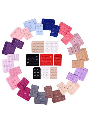 36 Pièces Extension de Soutien-Gorge Extensseur de Crochet, 2 et 3 Crochets, 18 Couleurs
