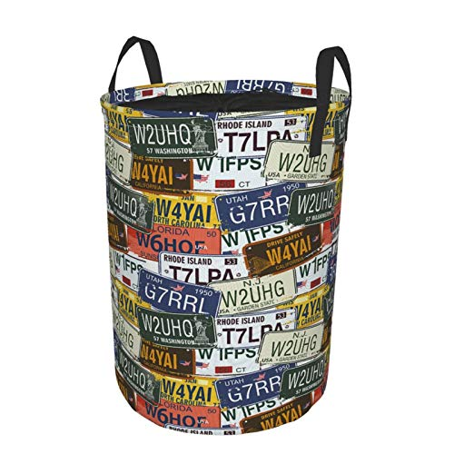 MAYBELOST Collapsible Large Clothes Hamper for Household,Various License Plates,Storage Bin Laundry Basket Waterproof with Drawstring,14' x 19'
