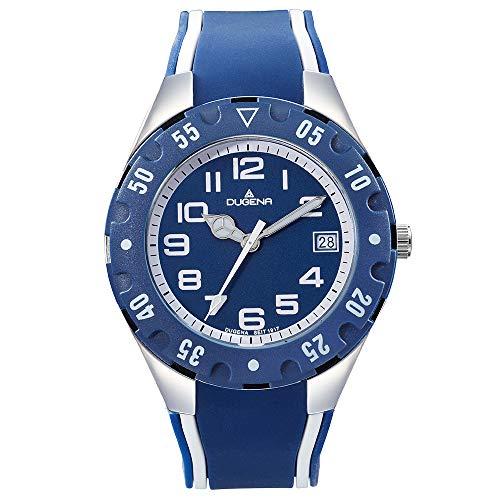 DUGENA Jungen-Armbanduhr Diver Junior, Quarz, Edelstahlgehäuse, Mineralglas, Silikonarmband, Dornschließe, 10 bar (blau)