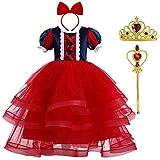 OBEEII Disfraz Blancanieves Niña Tutu Vestido de Princesa Carnaval Traje 4PCS Disfraces de Halloween Navidad Cumpleaños Pageant Rojo 7-8 Años