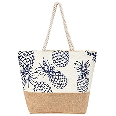 Beach Bag Large Waterproof Pineapple Weaving Beach Tote for Travel Shopping (Navy Blue)
