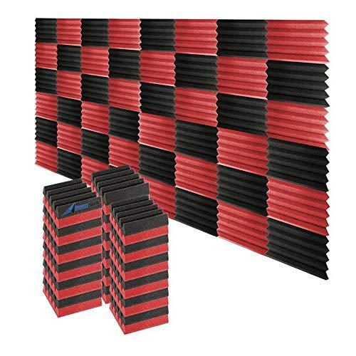 Super Dash - SD1134 - Keilförmige Schallschutzpaneele für Musikstudios (48Stück) - 50x 50x 5cm 25 X 25 X 5 cm NERO & ROSSO