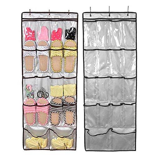 Oxford Stoff Hängen über der Tür Schuh Organizer mit 18 PVC-Taschen wandhängend 3 starke Metall Befestigungshaken Multifunktions Tasche Tasche