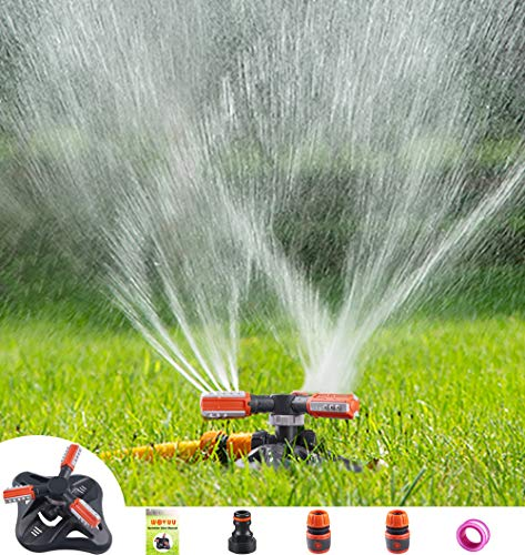 WOVUU Lawn Sprinkler,Upgrade Garden Sprinkler Automatic 360 Degree Rotating Irrigation Grass Water Sprinkler System, Garden Hose Sprinkler for Yard/Built in 36 Units Angle Spray Nozzles (Orange)