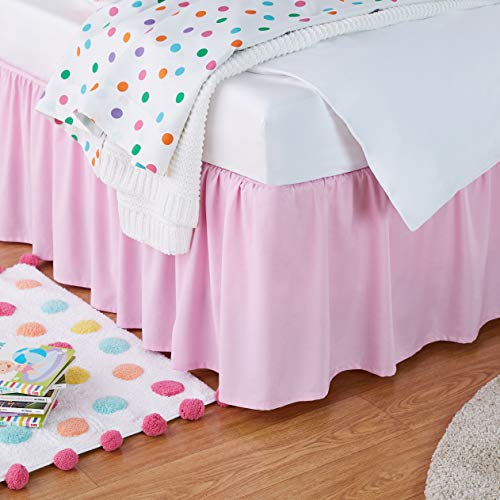 Amazon Basics Kids Ruffled Bed Skirt - Twin, Bubblegum Pink