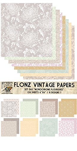 Flonz Paper Pack (24blatt 15x15cm) Monochrome Flourishes Vintage Muster Papier fur Scrapbooking und Handwerk