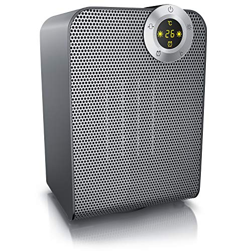Brandson - Heizlüfter - Keramik-Heizlüfter Badezimmer energiesparend leise - Schnellheizer mit Oszillationsfunktion - 2x Heizstufen - Timer - Heizung Heater - GS-zertifiziert - Cool Grey Design
