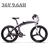 GUOWEI TOP-880 36v 250w 9.6Ah Blanc Gris Électrique 26 Pouces Pliable Ebike E-Bike Vélo Pliant E Vélo Électrique avec TEKTRO Hydraulique Disque De Frein (White)