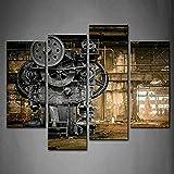 WOKCL Cuadro en Lienzo 4 Panel Wall Art Abandoned Factory Industrial Background Machine Desordenado Pintura La Imagen Imprimir en Lienzo Imagen de Arquitectura