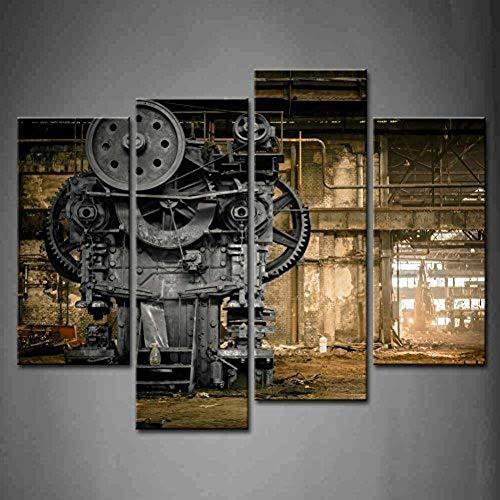 WOKCL Cuadro Lienzo 4 Panel Wall Art Abandoned Factory