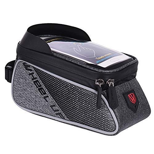 SanQing Bike Frame Bag, Waterproof Lenkertaschen Fits All Bikes-Fahrrad-Bag Touch Screen für Smart Phone Below 6 Zoll,Black