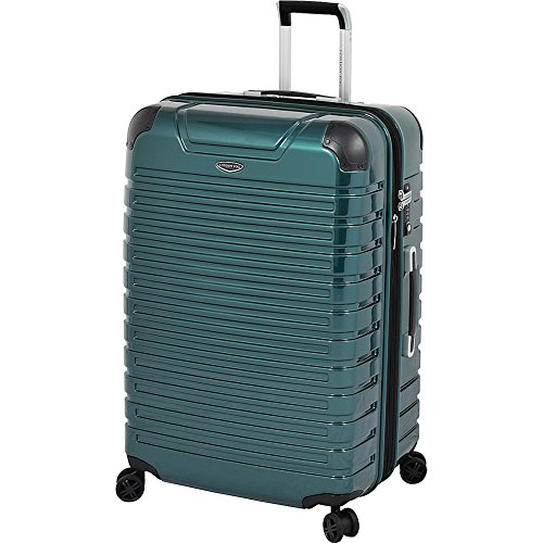 LONDON FOG Dover Hardside Expandable Spinner Luggage, Teal, Checked-Large 28-Inch