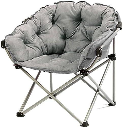 Yuan Yuan Moon Chair grau - Kreativer fauler Suede Fabric Folding Sun Liegestühle Waschbar Einzel Recliners Schlafsofa Runde Stühle mit Rückenlehne