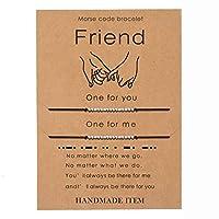 モールスコードブレスレット ピンキー 約束 距離 マッチング 秘密のメッセージ 友情 ハンドメイド 調節可能なブレスレット ジュエリー 女性用 2ピース