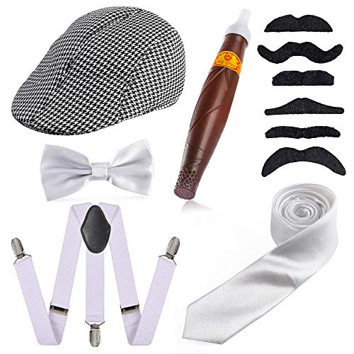 Beelittle 1920s para Hombre Gatsby Gangster Disfraces Accesorios Conjunto - Gatsby Newsboy Beret Hat, Tirantes, Reloj de Bolsillo, Corbata, Pajarita Pre Atada, Cigarro, Bigote Falso (F)